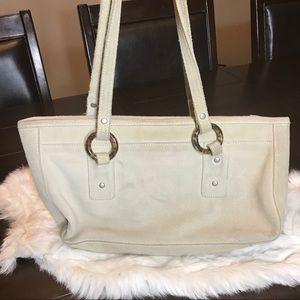 Handbags - Purse. suede. Cream color with brown accents.